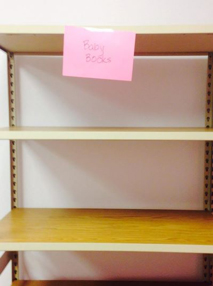 image of empty book shelf